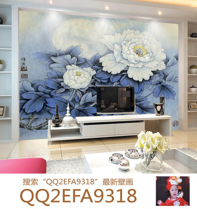 蓝牡丹手绘沙发背景墙壁画