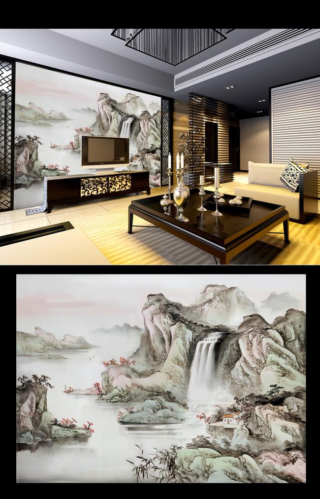 手绘漓江山水壁画电视背景墙