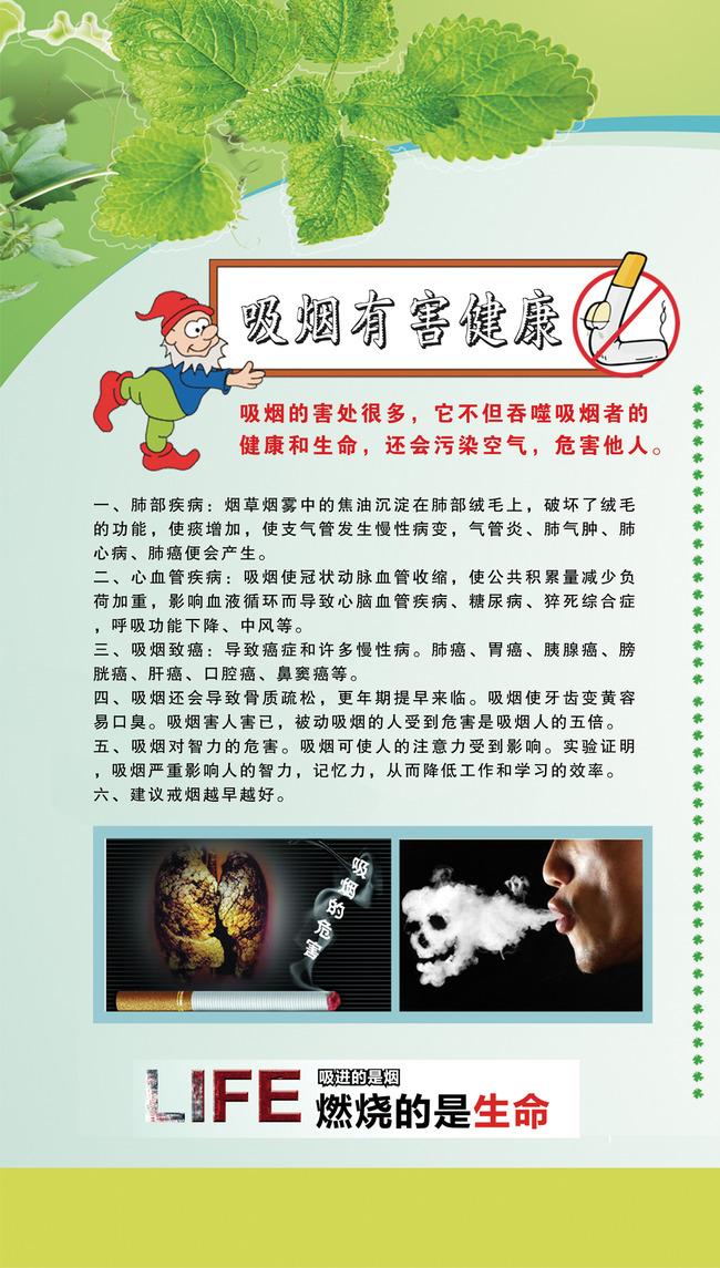 禁烟手绘海报 高中