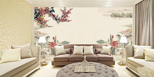 梅花山水中式客厅电视背景墙装饰画图片