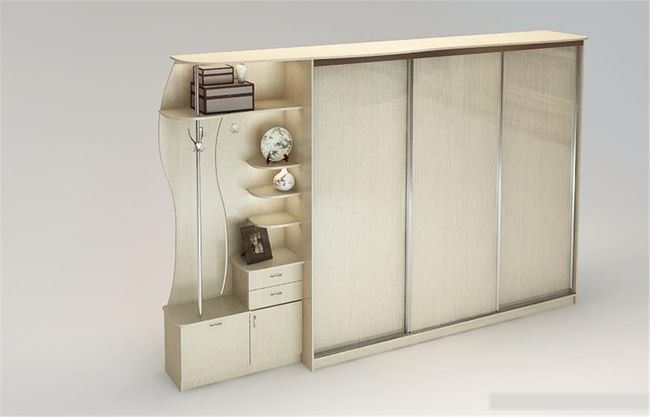 白色橡木纹衣柜3d模型
