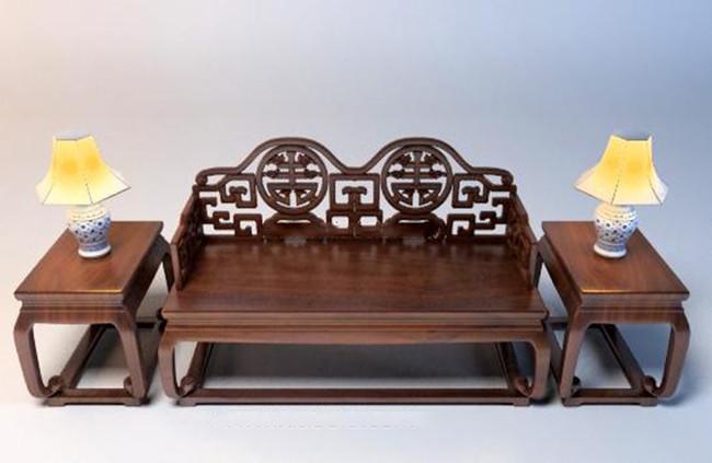 中式室内单体桌椅模型