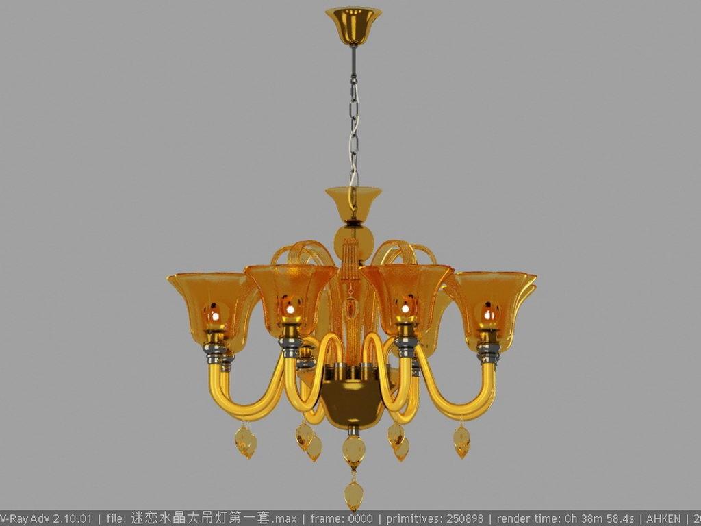 黄色欧式吊灯模型下载模板下载(图片编号:12821500)