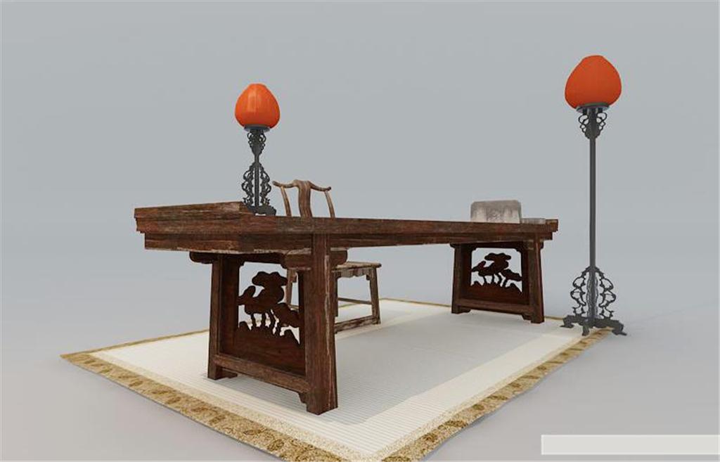 中式风格家具单体手绘