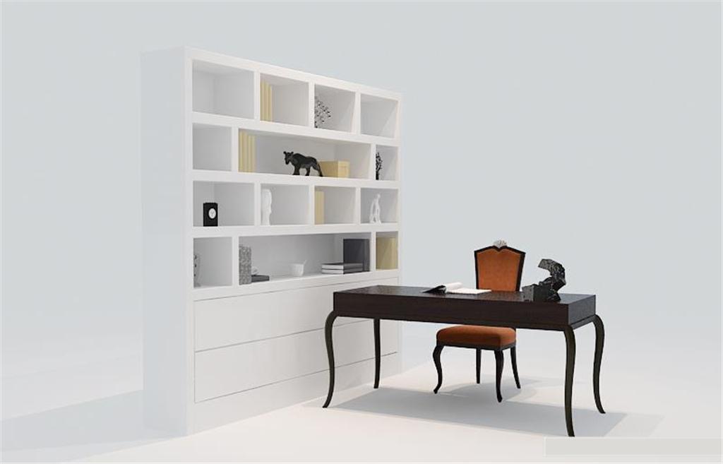 简欧独立书桌书柜分享展示图片