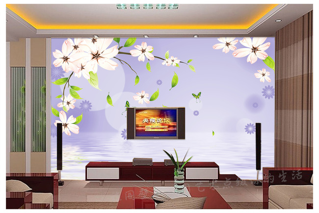 电视背景墙壁纸白色花简约壁画装饰