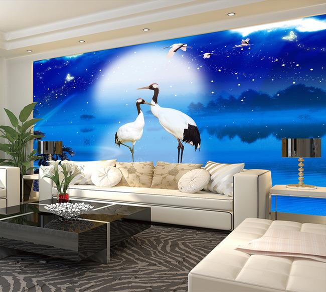 电视背景墙仙鹤装饰画