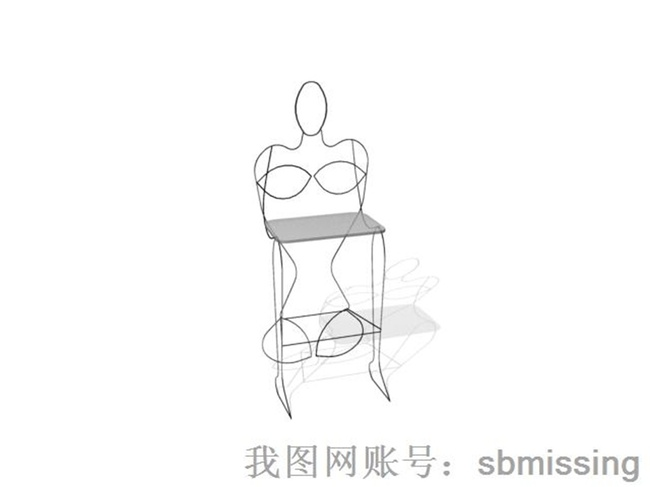 线条椅子3d模型下载