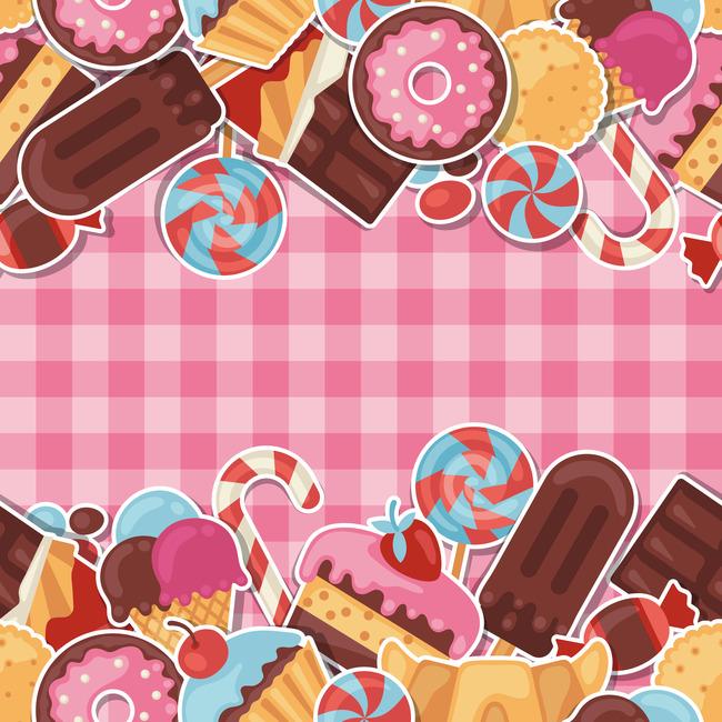 粉色系糖果背景素材美味卡通糖果粉色格子