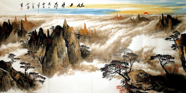 电视背景墙客厅背景墙墙纸壁画酒店壁画 艺术玻璃 山水风景图 山峰