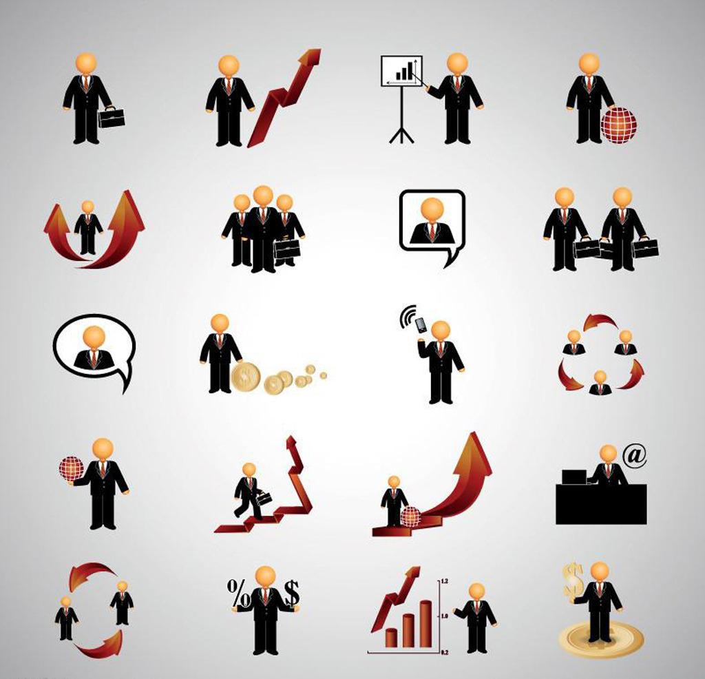 办公 金融 ppt 图标 素材 白领 人物 ui设计 界面 手机图标 商业 企业图片