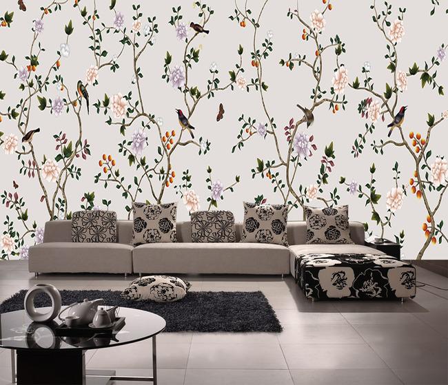 装饰画 玄关花鸟 花开富贵 墙纸 墙画 工笔画 中式 中国风 淡雅 复古图片