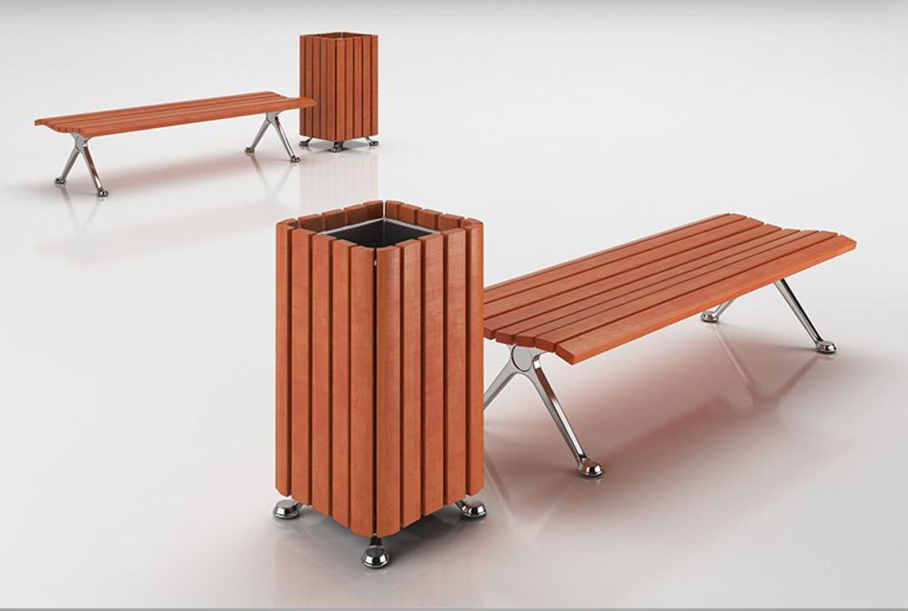 环卫垃圾桶和休闲长椅3d模型+贴图