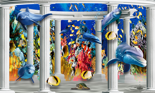 海底世界3d立体宫殿罗马柱电视背景墙