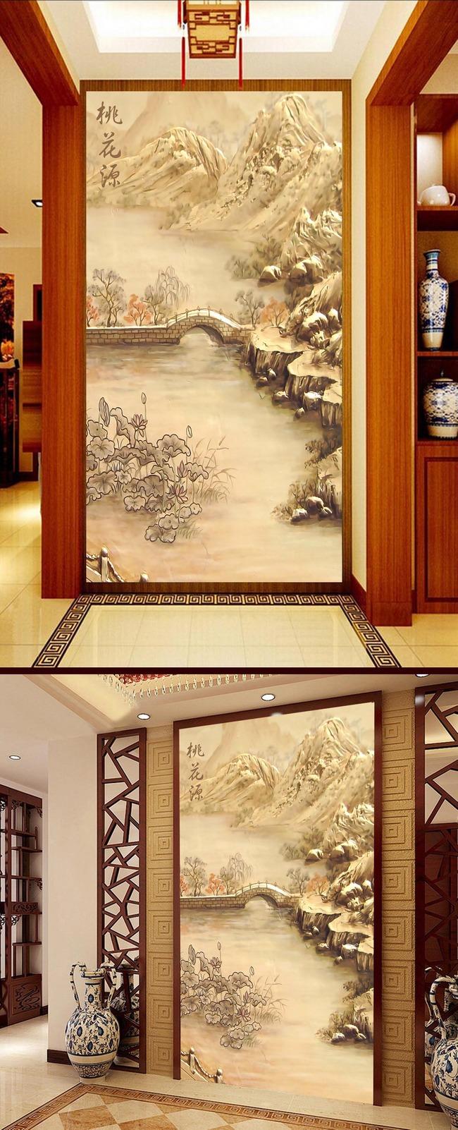 桃花源中式山水3d玄关壁画背景墙高清图片下载(图片)
