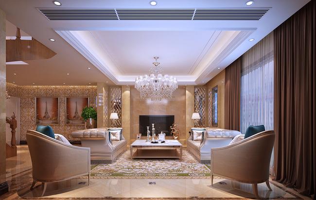 欧式风格3d效果图客厅模型图片下载
