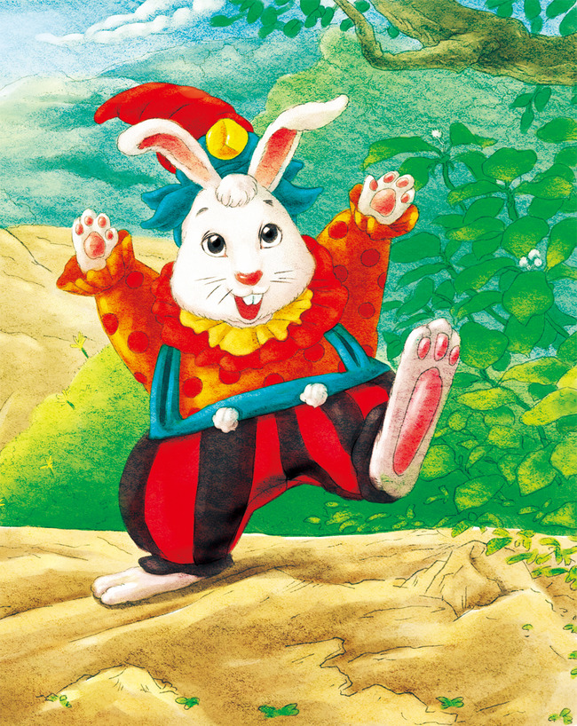 高清大图下载贪玩的兔子精细上色高清插画