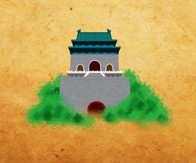 北京钟楼手绘