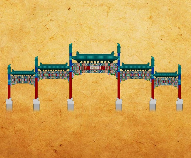 北京前門大街五牌樓手繪圖
