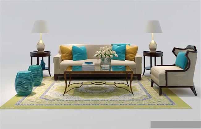 欧式古典彩色沙发模型
