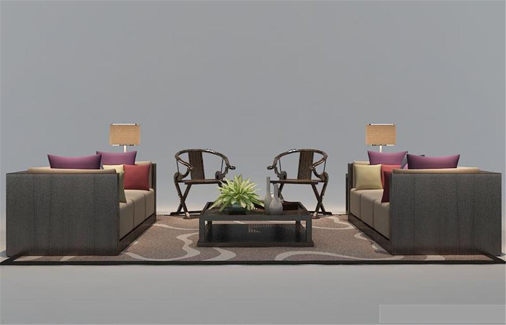 现代简约欧式古典中式一套沙发3d模型