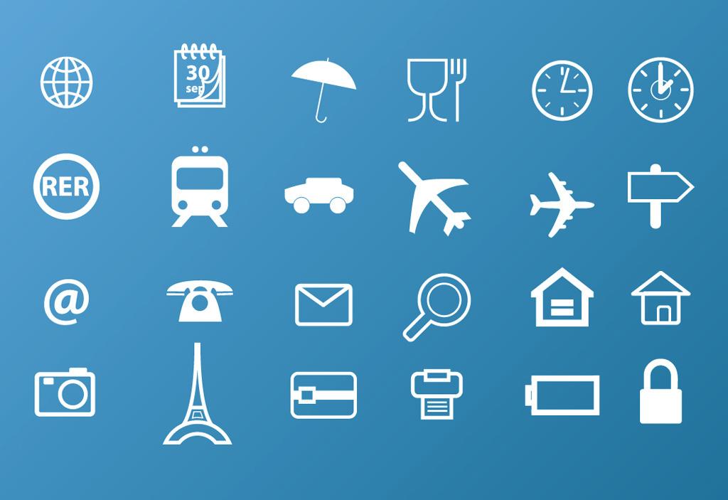 网页设计图标 网站设计图标 时间 日历 放大镜 雨伞 指向标 飞机 汽车