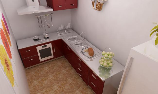 欧式简约厨房橱柜家具3d模型设计