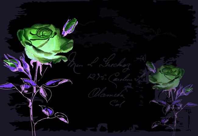 电视背景墙手绘画水墨画装饰画玫瑰