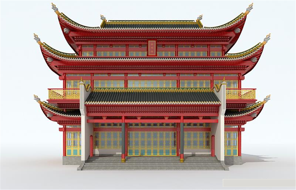 中式建筑单体手绘