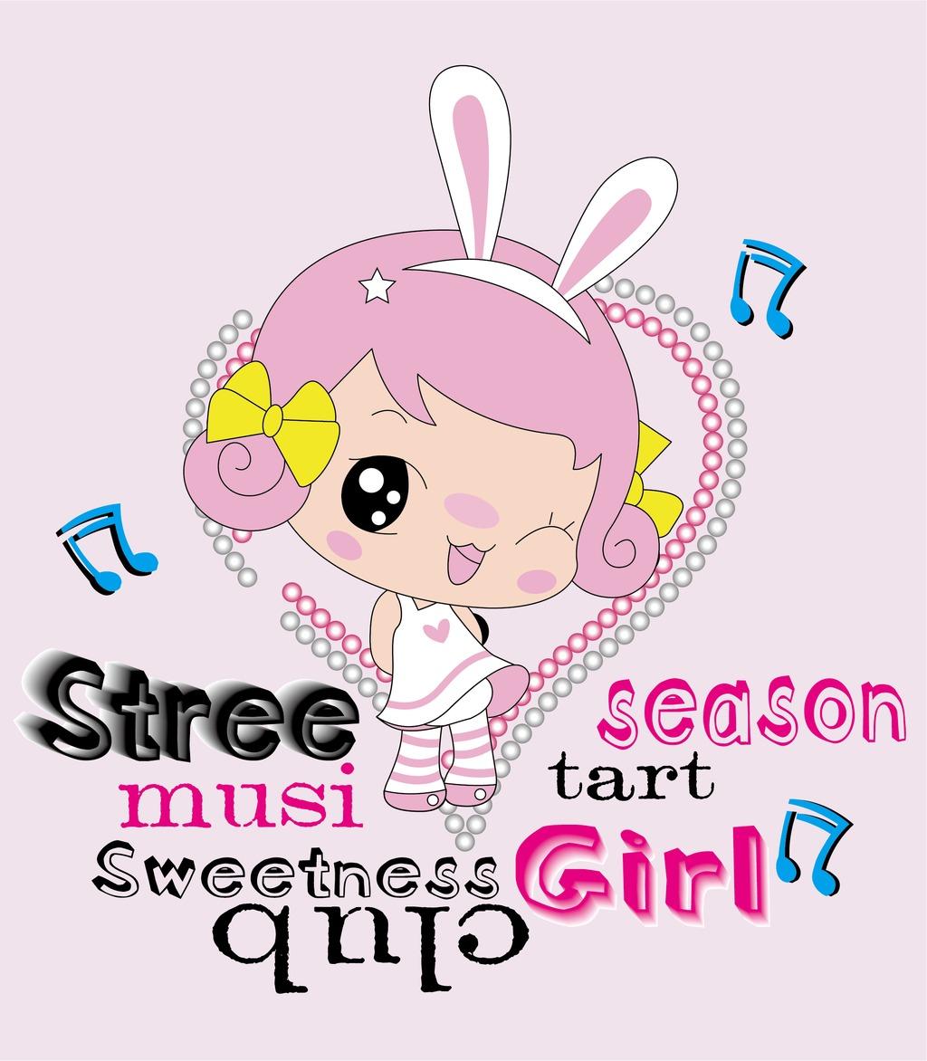 可爱卡通女孩图案粉色手绘少女印花图案