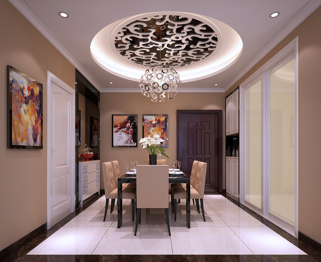 欧式餐厅设计下载效果图模型一一天花板一一厨房推门