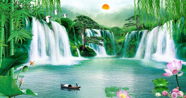 背景墙 装饰画 电视背景墙 江山如画 山水 瀑布 山水风景 竹子 壁画