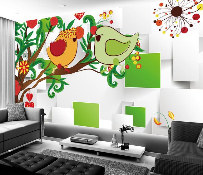 时尚手绘树花鸟清新背景墙