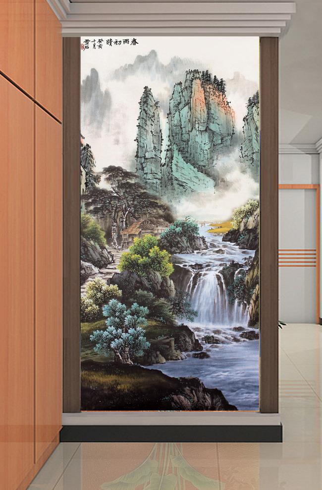 锦绣河山国画山水风景画十字绣图案玄关图片