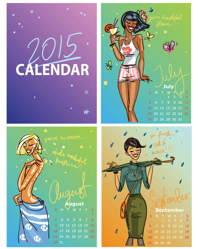 2015年时尚美女羊年日历年历挂历台历3模板下