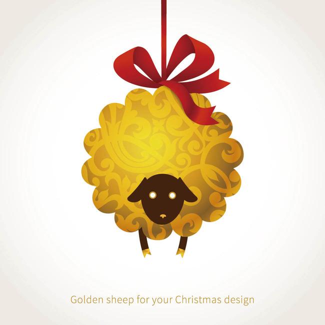 2015金色可爱卡通羊插画