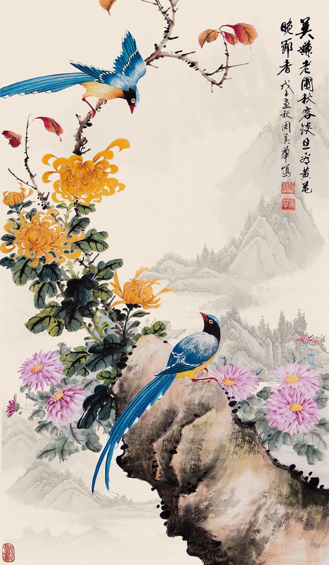 花鸟图中式玄关背景墙高清图片下载