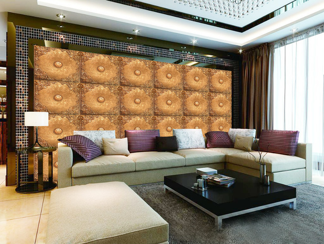 欧式浮雕立体皮革软包电视背景墙