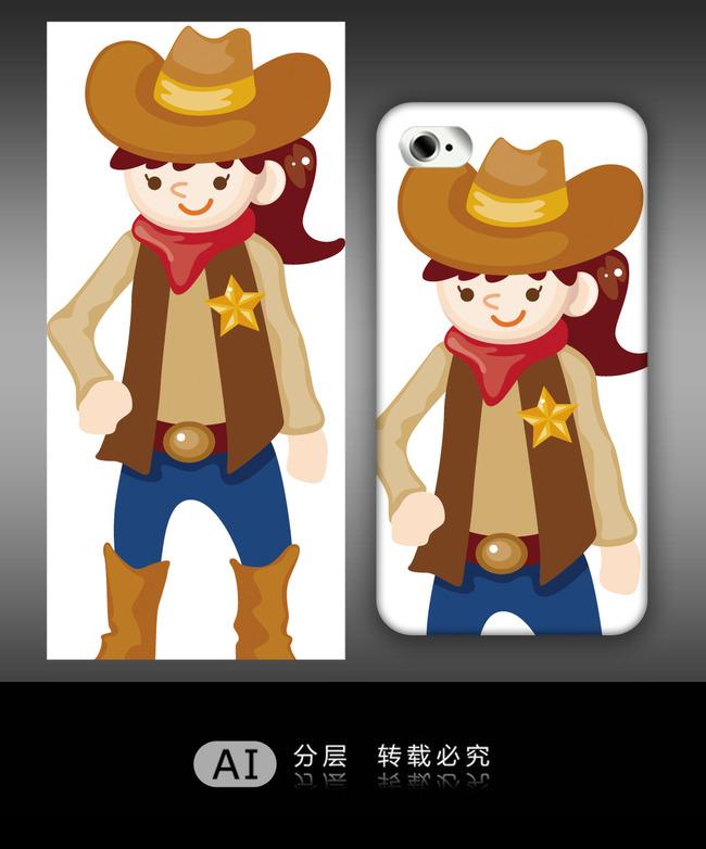卡通可爱西部牛仔女孩手机壳