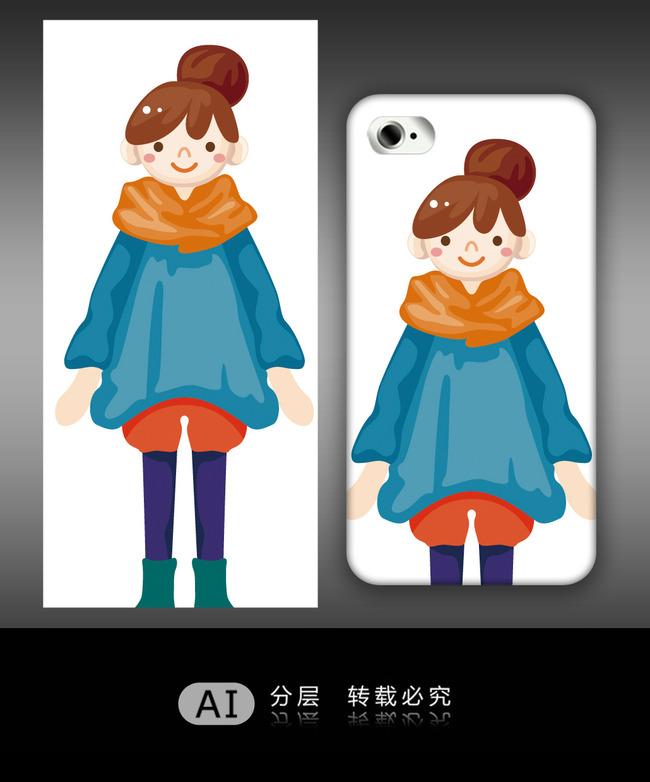 唯美卡通女孩手机壳