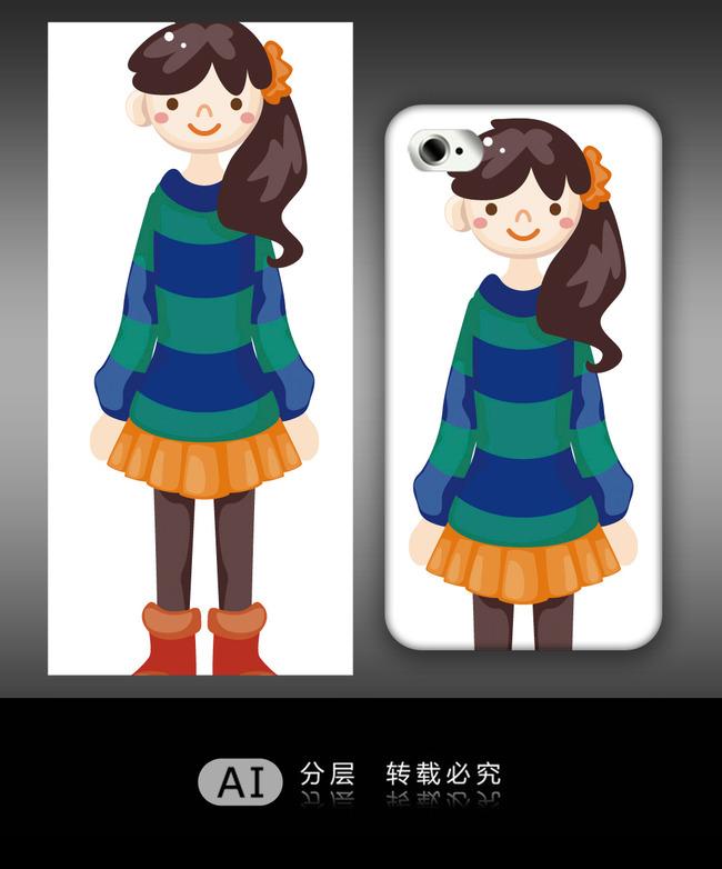 卡通女孩手机壳