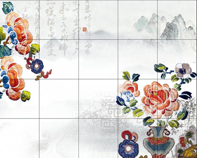 中式布艺山水风电视背景墙图片
