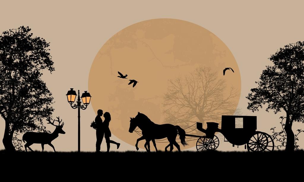 欧式马车的剪影图片