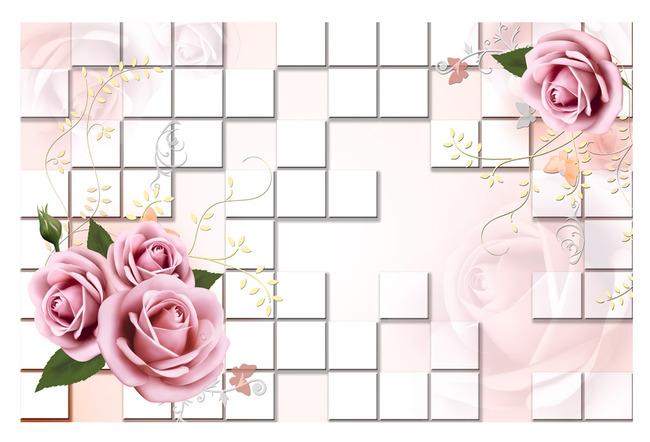 3d立体方框玫瑰花藤电视背景墙