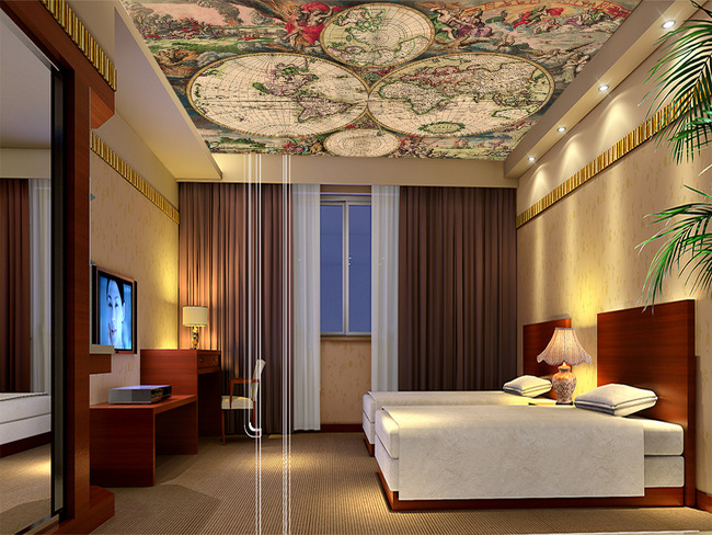 世界地图欧式天顶画欧式电视背景墙图片