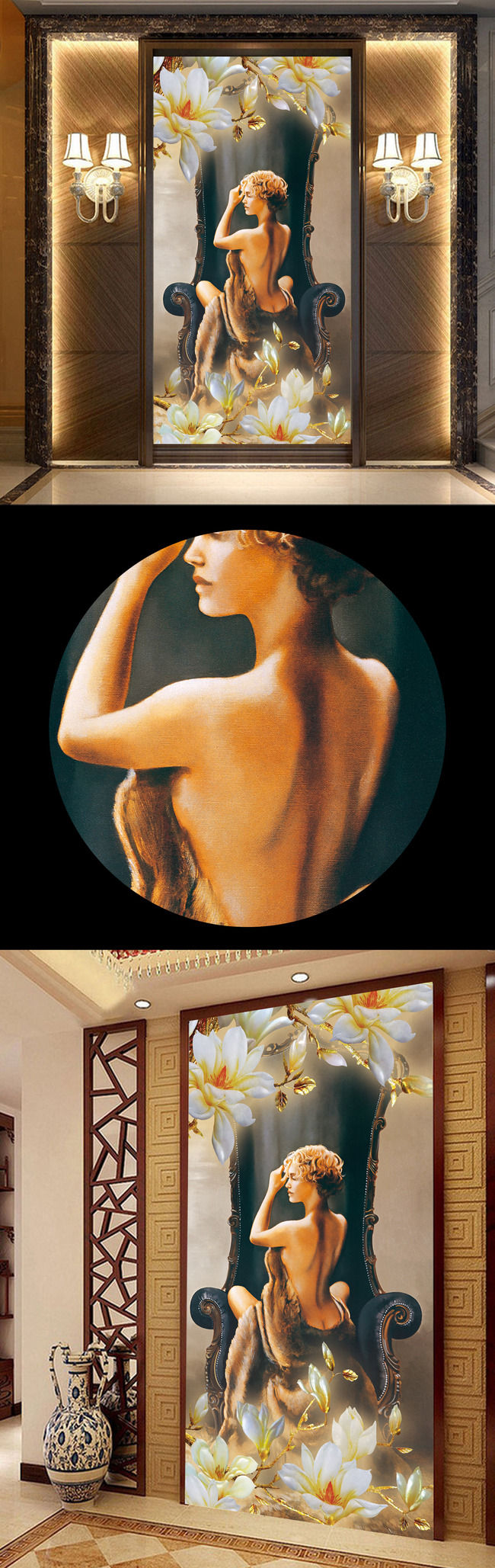 手绘古代美人出浴图