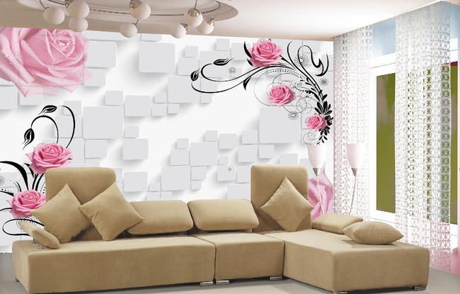 3d带花客厅立体电视背景墙 花开富贵电视背景墙室内背景墙背景墙客厅