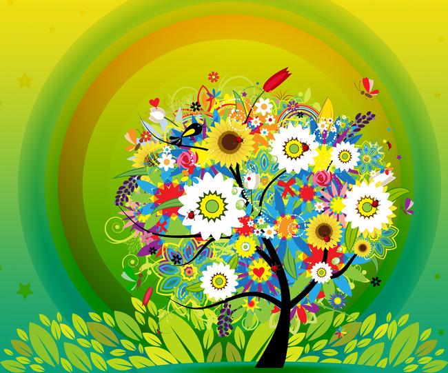 墙纸 壁画 卧室背景墙 艺术玻璃 动漫卡通七彩花 清新 唯美 树木 七彩