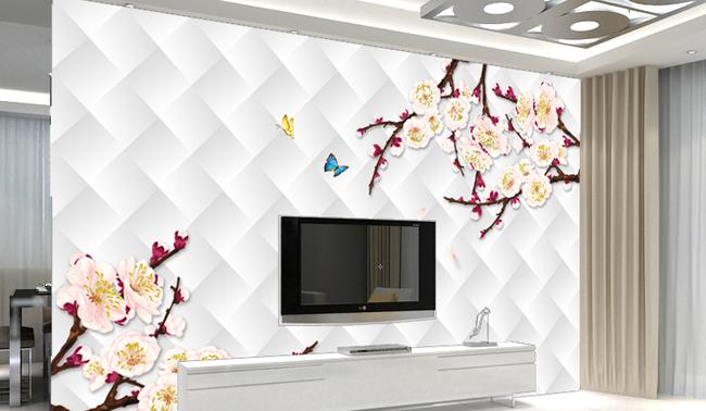 3d带花客厅立体电视背景墙 电视背景墙室内背景墙背景墙客厅电视