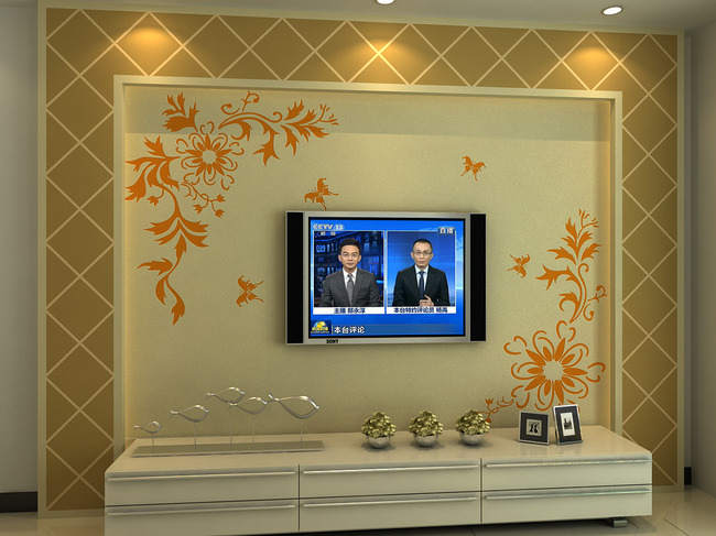 硅藻泥电视背景墙模型下载(含文泰矢量图)